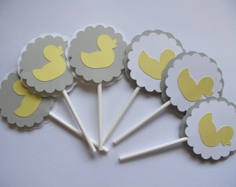 Rubber Duck Cupcake Toppers - Rubber Duck Baby Shower Decorations - Baby Shower Cupcake Toppers - Duck Decorations - Yellow and Grey Party