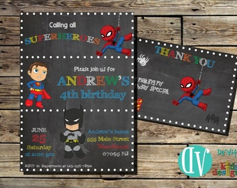 Superheroes Birthday Invitation Printable  5x7 or 4x6 and FREE Thank You Card Printable 5x3.5
