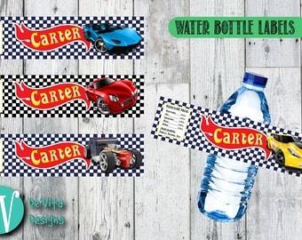 Personalized Bottle Labels | Hot Wheels Bottle Label | Water Bottle Labels | Party Labels | DIY | Printable Labels | Party Decor Labels
