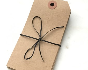 "Large Recycled Natural Brown Kraft Shipping Tags With Reinforced Hang Tags - 2 3/8"" X 4 3/4"" - Qty = 250"
