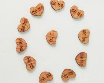 "100 PCS Mini Wood Heart Confetti ""I Do"", ""Me Too!"", rustic, rustic decorations, rustic wedding, wedding supplies, engagement party, party"