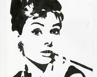 Audrey Hepburn Portrait Drawing Black and White, Pencil, Illustration