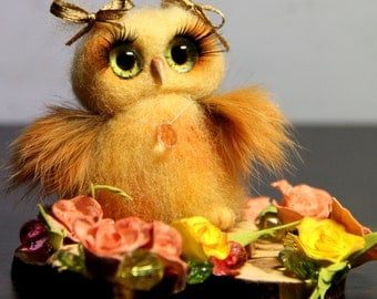 Jussi the Owl - 100% Handmade Needle Felted Wool Animal