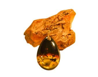 "Amber Pendant With Silver Gold Plated ""Day & Night"""