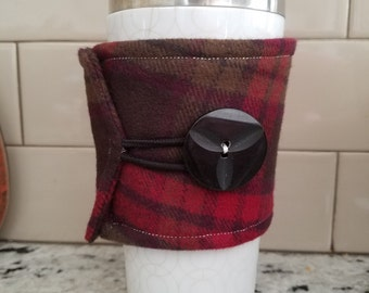 Insulated Flannel Coffee Cozy, Coffee Sleeve,  Handmade Coffee Cozy, Gifts for Coffee Lover, Flannel, Plaid, Cozies