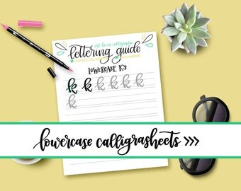 Lowercase Calligrasheets Practice Guide - LETTERING GUIDE - Letter Sheet - Calligraphy Practicing - PROCREATE Brush - iPad Letters - Modern