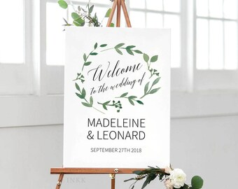 Modern Greenery Printable Wedding Welcome Sign Template, Personalized Welcome Sign, Custom Wedding Sign,Editable Template PDF Download #E023