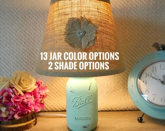 Mason Jar Lamp, Mason Jar Light, Hand Painted Lamp, Quart Mason Jar Lamp, Rustic Lamp, Mint Lamp, Farmhouse Lamp, Shabby Chic Lamp, Country