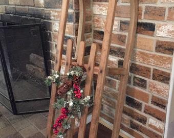Vintage Wooden Sled - christmas sled - christmas decoration sled - sled - wooden sleigh - christmas sleds - wooden sleds -sleds