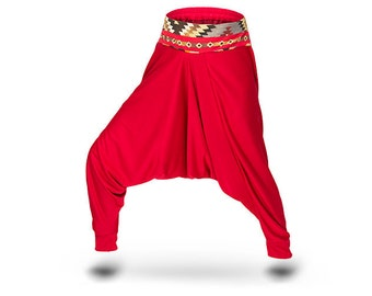 Jersey Harem pants Women Yoga pants Red