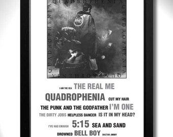 THE WHO QUADROPHENIA Vinyl Album Limited Edition Unframed A4 Mod Art Print