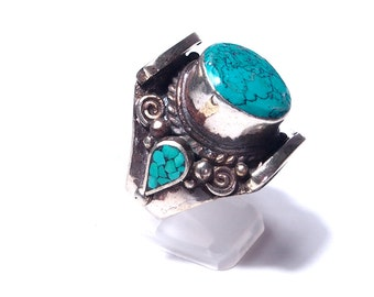 Ethnic silver and turquoise ring