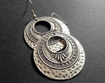 Ethnic Earrings | Antique Silver Plated Round Earrings | Tribal Earrings | Pendientes | Boho  Earrings| Gipsy Earrings | Bohemian Earrings