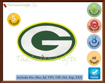 GreenBay Packers EMBROIDERY DESIGNS Pes, Hus, Jef, Dst, Exp, Vp3, Xxx, Vip
