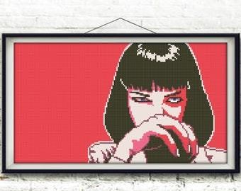 Cross stitch pattern scheme pop art portrait Uma Thurman (Mia Wallace)