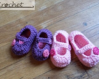 Crochet Baby Mary Jane booties, Crochet Baby Shoes, Baby Girl Shoes, Baby Gift