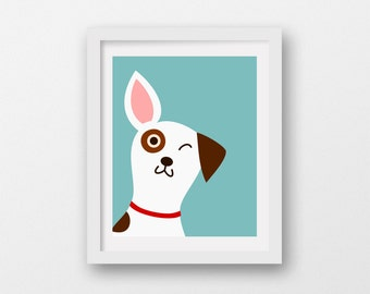 Jack Russell Terrier illustration,dog digital art,dog printable decor