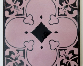 Artistic tile hand painted black and pink. Mosaic 15x15 cm.