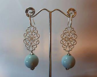 Blue flower mosaic, dangling earrings with pearl