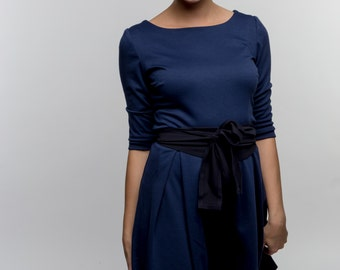Her Business Lifestyle Dress with belt / blue, darkblue, elegant, classic, casual, kneelengths, 3/4 arms, Made in Germany, summerdress