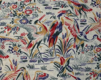 Asian Inspired 100 % Cotton Fabric with Cranes