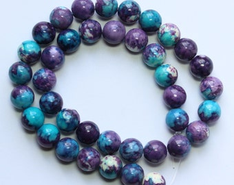 10mm Multi Colored Beads Blue Purple White Jade Rounds 15 inch Strand 37 Beads Stone Gemstone