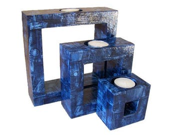 """Set of 3 candle holders """"jeans"""""""