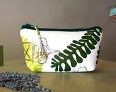 Small White Make-up Zip Bag. Fern-patterned Travel Make-up Purse. Lanzarote Ferns pattern. Exotic pattern zip Pouch. Make-up storage Zip Bag