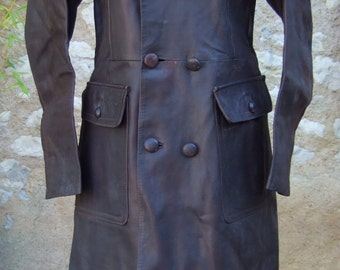 VINTAGE FRENCH long brown leather riding coat