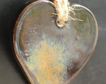 Heart shaped ornament, Clay heart, Home and living, Ornament, Home decor, Handmade heart, Clay glazed heart, Heart ornament, Rustic