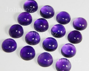 15 Pieces Wholesale Lot Natural Purple Amethyst Round Gemstone cabochon