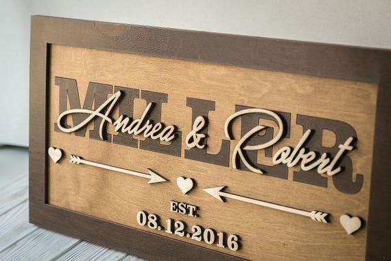Last Name Established Sign Rustic Wood Custom Wedding