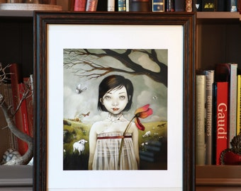 """Girl with the Lamb"" art print"