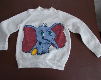 "Handknitted childs jumper, Dumbo motif front and back, approximate size 26"" - 28"""