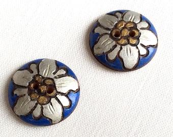 Vintage wood buttons, set of 2, flower buttons, wooden buttons, Edelweiss handmade buttons, buttons for children, buttons for crafts