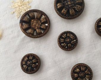 Antique Vintage Steel Cup Buttons with Mirror background Set of 12