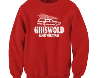 Griswold Family Christmas Funny Clark Griswold Xmas Chevy Chase 80s Crewneck Sweatshirt
