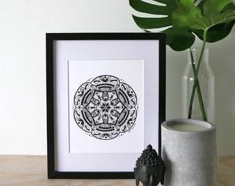 Explore A4 Mandala Print, A4 Black and White Print, Meditation Tool, Mandala Art Print, A4 Mandala Print