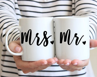 Couples Mug Set | Mr and Mrs Mugs | Wedding Mugs | Gift for Newlyweds | Set of 2 Coffee Mugs | Husband and Wife | Wedding Gift