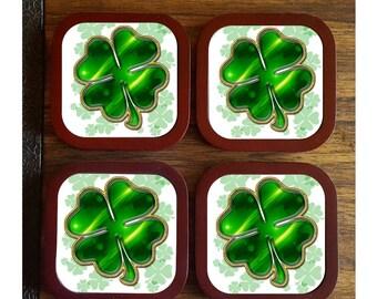 Shamrock Drink Coasters, St. Patrick's Day Decor, Irish Decor, Home Decor, Housewarming Gift, Bridal Shower Gift, Wedding Gift, Bar Ware