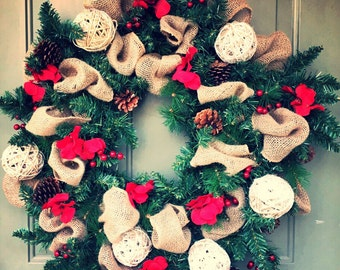 Burlap & Garland Christmas Wreath