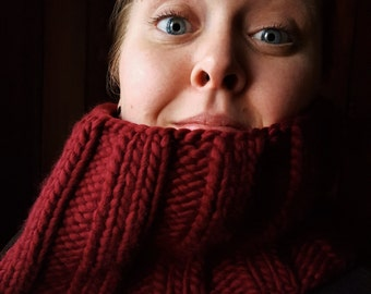 Cozy Red Wool Bulky Knit Ribbed Cowl - warm homemade winter infinity scarf