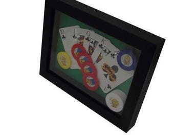 The Simpsons Poker Board Game Framed Upcycled Art - Clubs