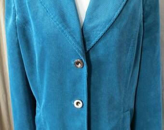 Vintage Blue Corduroy Jacket Blazer Turquoise Cord Large Size SALE