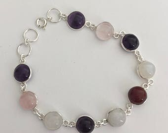 TAIPAN Amethyst + Rose Quartz + Moonstone ladies bracelet 925 sterling silver
