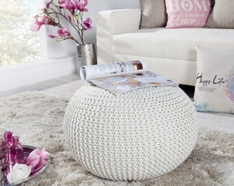 Bean bag, white, ivory, Pouf, footrest ball Knit, Crochet Pouf Poof, Ottoman, Footstool, Pillow, Floor cushion Floor Puff, knitted, 50cm