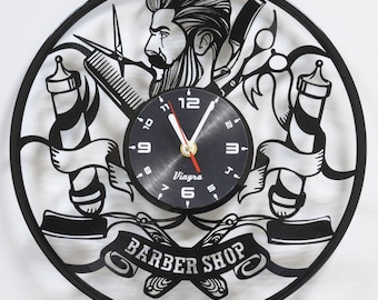 BARBER SHOP CLOCK Vinyl Record Clock Barber Shop Wall Decor Barber Shop Art Barber Shop Decoration Barber Shop Decor Wall Clock Barber Gifts