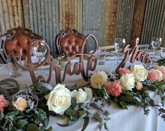 MDF Bride & Groom Table Sign