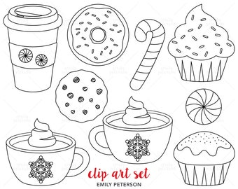 Peppermint Mocha, Candy Cane, Cupcake - Cute Digital Stamps, Line Art  - Commercial Use, Instant Download