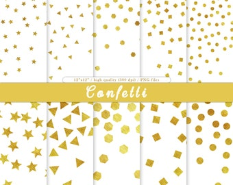 Confetti digital papers Confetti clipart Gold confetti Confetti PNG Gold confetti Confetti backgrounds for scrapbooking Instant download